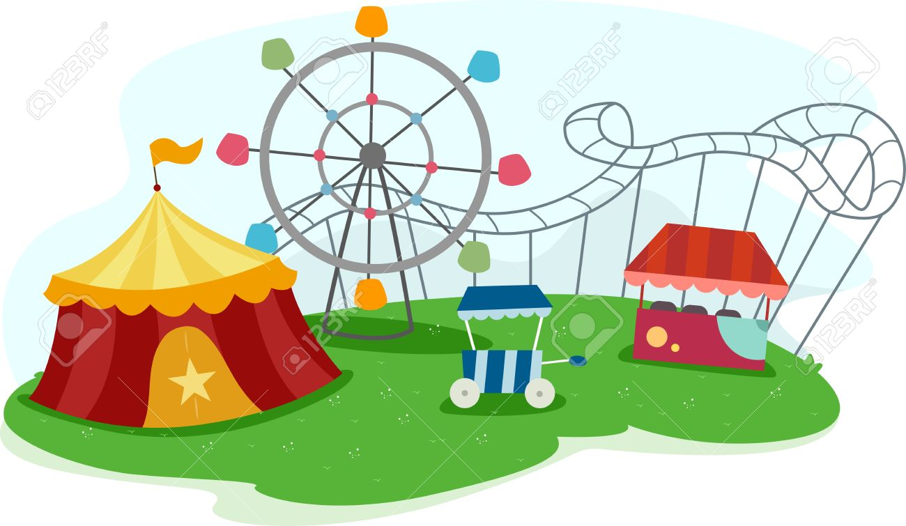 illustration of a theme park with rides stock photo picture and rh 123rf com amusement park clip art free amusement park clip art free