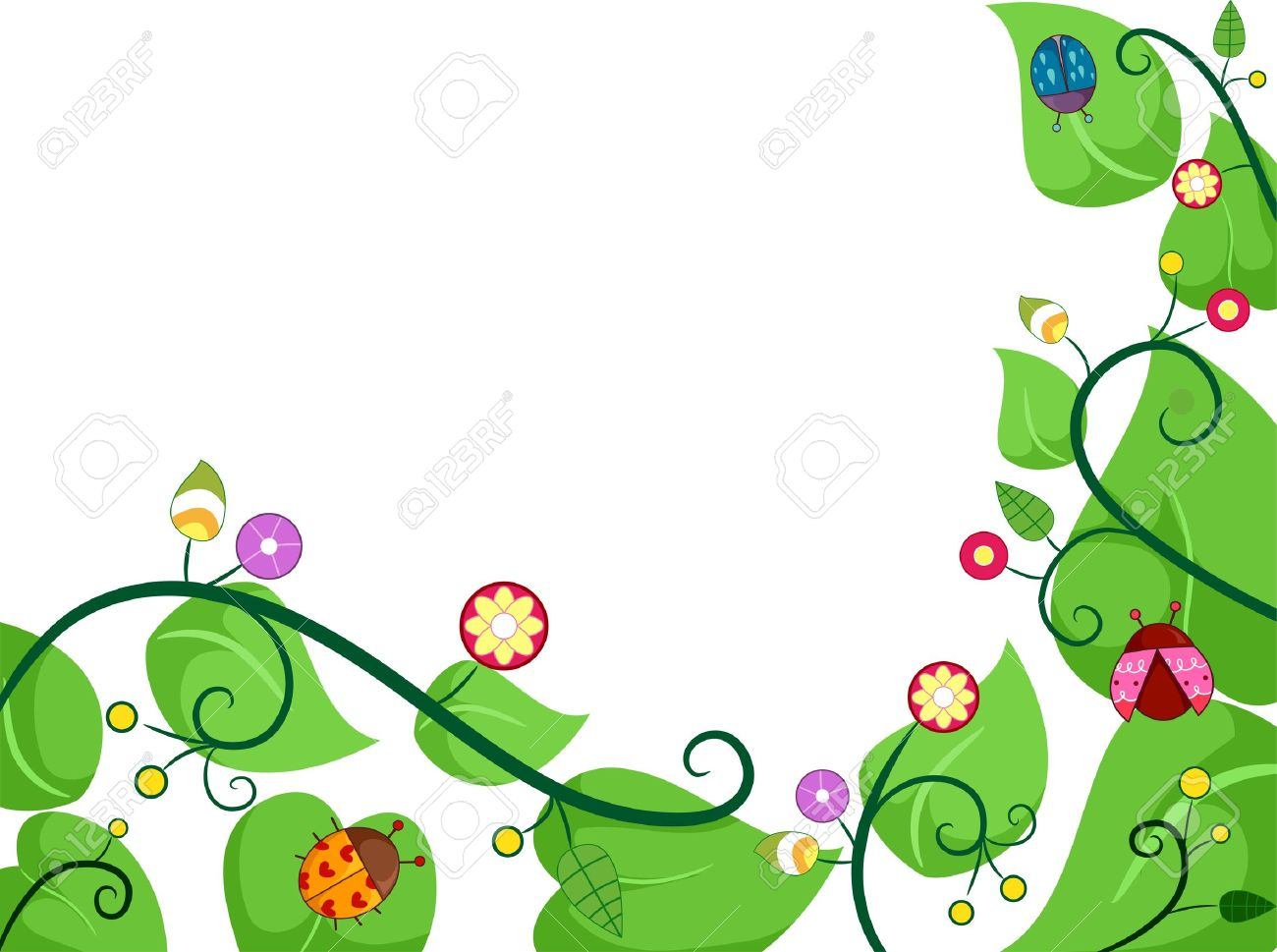 border illustration of vines with ladybugs stock photo picture and rh 123rf com pumpkin vine border clip art vine border clip art free