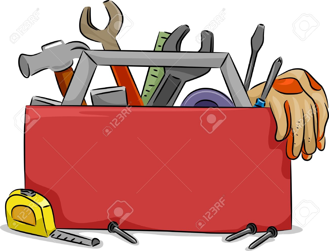 blank board illustration of red tool box with carpentry tools stock