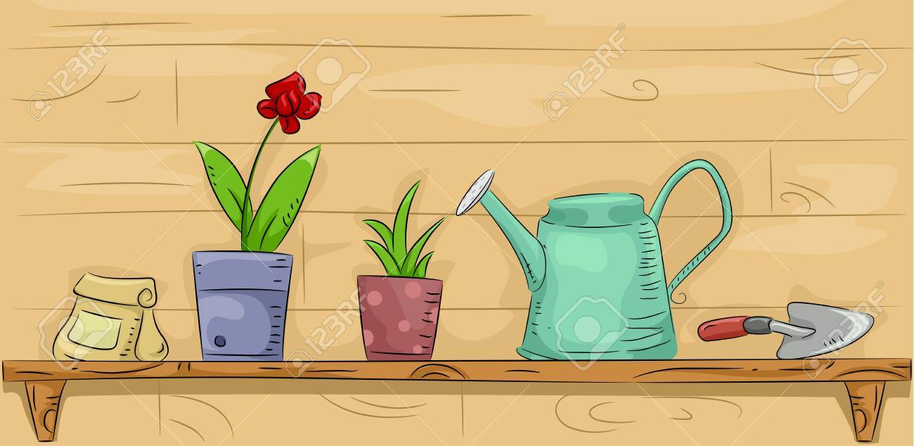33618df1ba5d Foto de archivo - Ilustración de un estante lleno de Artículos de jardín y  de los Materiales