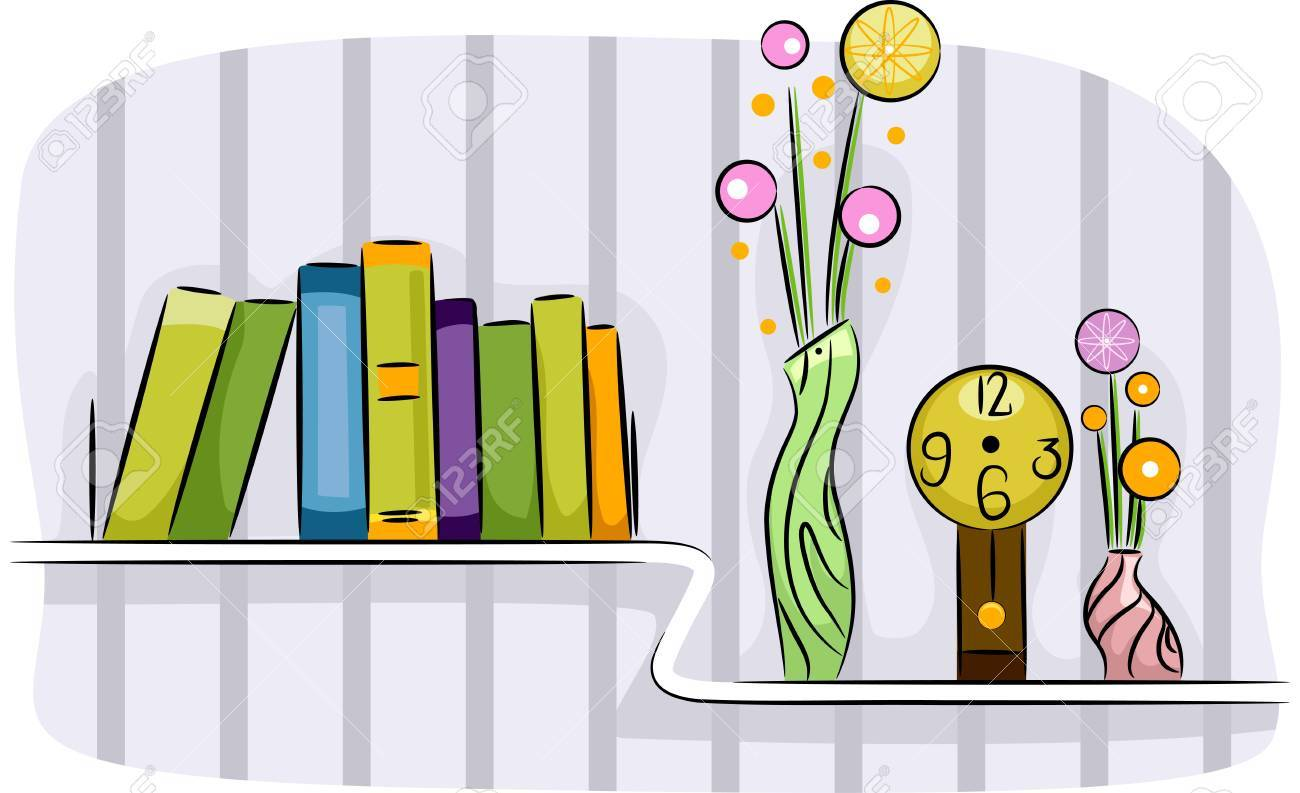 Illustration Of A Modern Living Room Shelf Holding Some Books Flower Vases And