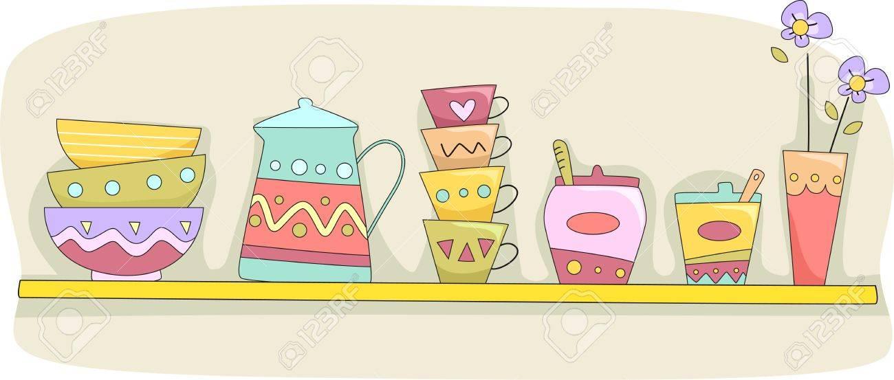ef6a0ca507ef Foto de archivo - Ilustración de un estante de la cocina Holding tazas,  tazones, una jarra y vajilla Otros