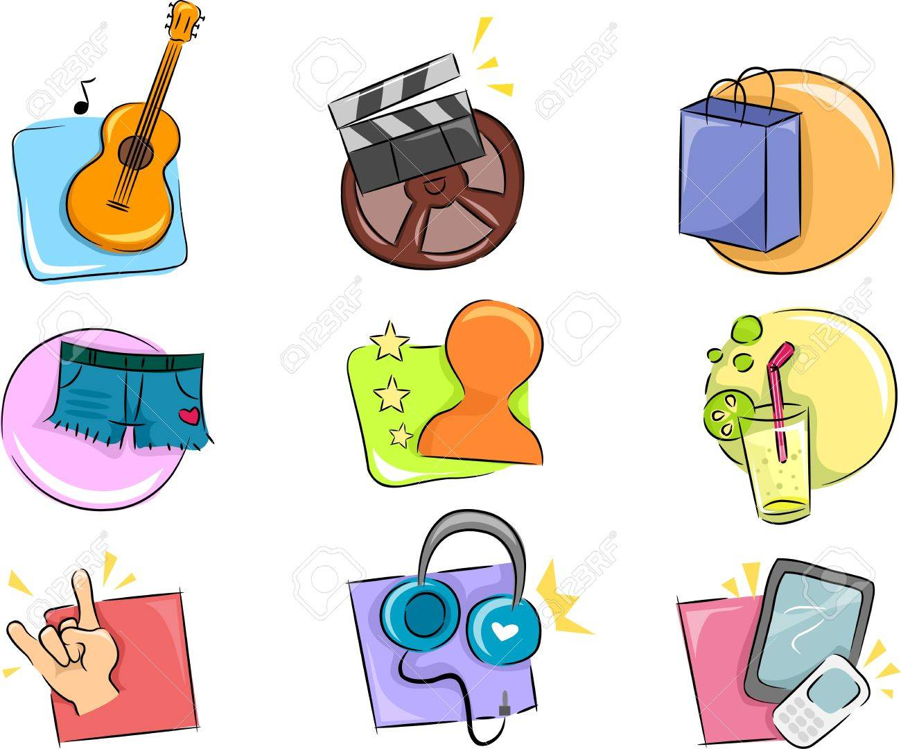 Illustration Of Different Hobbies And Interests Icon Design ...