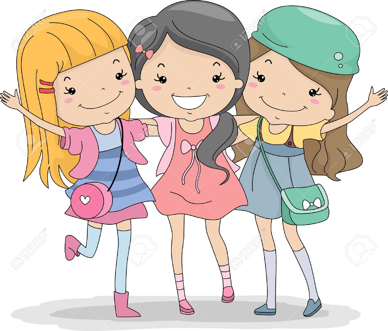 illustration of a group of girls huddled together stock photo
