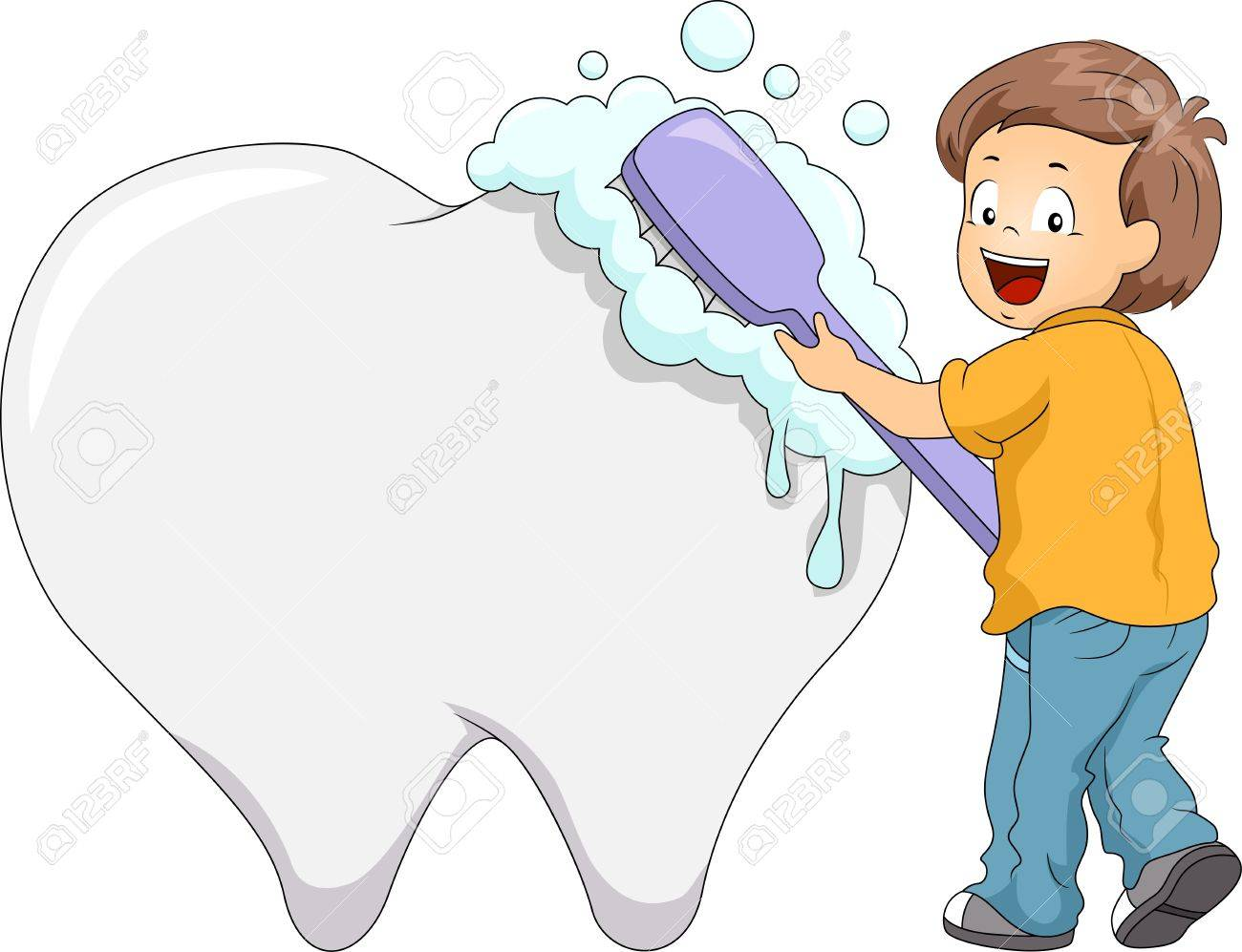 Illustration of a Boy Using a Large Toothbrush to Clean a Giant Tooth Stock Illustration - 17291081