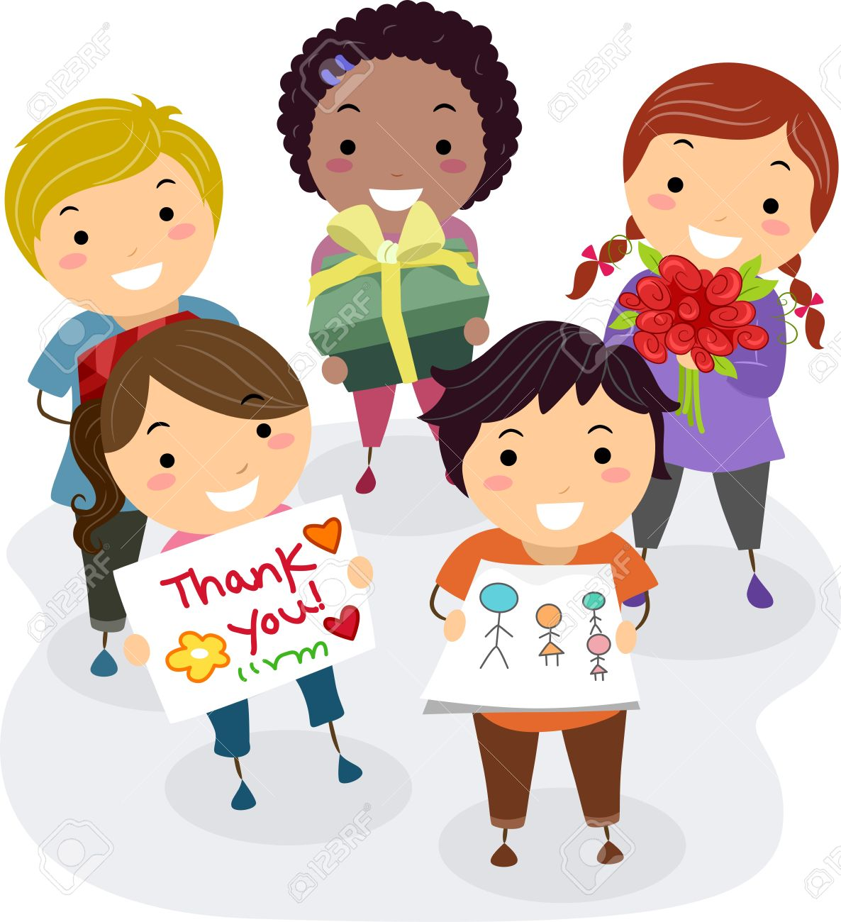 Illustration Of Kids Presenting Gifts Flowers And Thank You