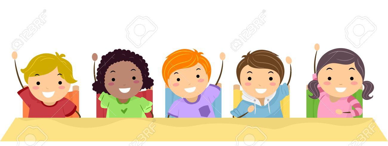 学校の子供たちは列に並んで彼らの手を上げるのイラスト の写真素材