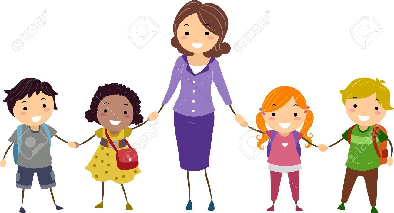 illustration of school kids and their teacher holding hands stock rh 123rf com teacher student clipart free teacher helping students clipart