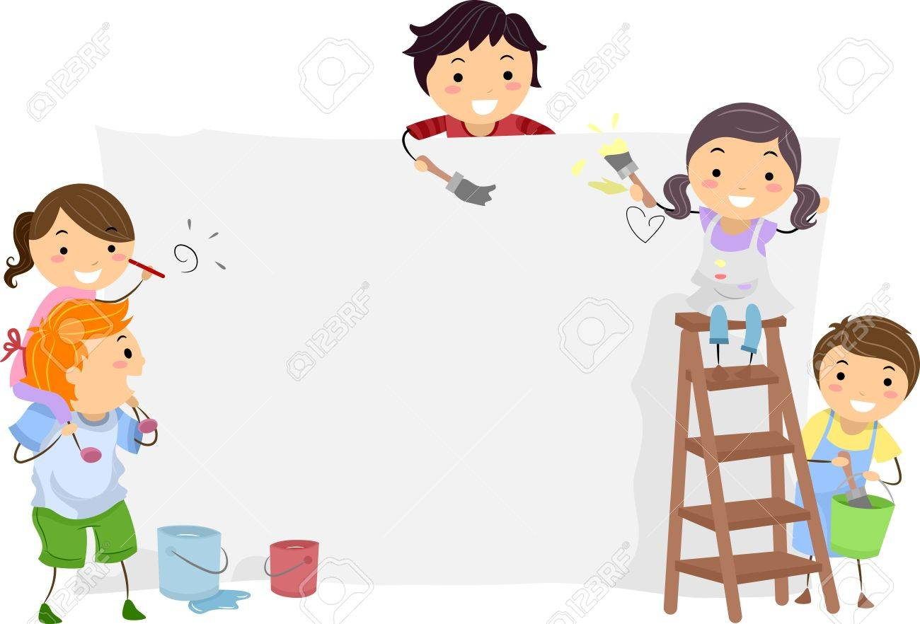 kids painting illustration of kids painting a blank board - Kids Painting Images