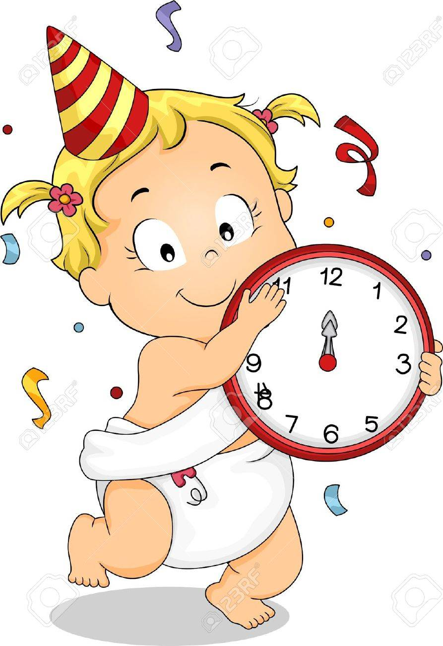 illustration illustration of a baby girl holding a clock celebrating new year with confetti and a party hat