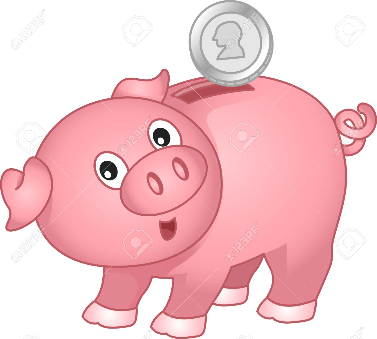 illustration of a piggy bank with coin stock photo picture and rh 123rf com pink piggy bank clip art piggy bank clip art for free