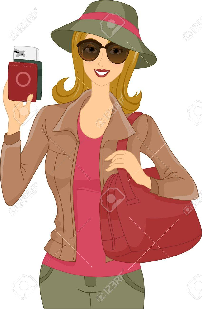 Illustration of a Woman Showing Her Passport Stock Photo - 17581438