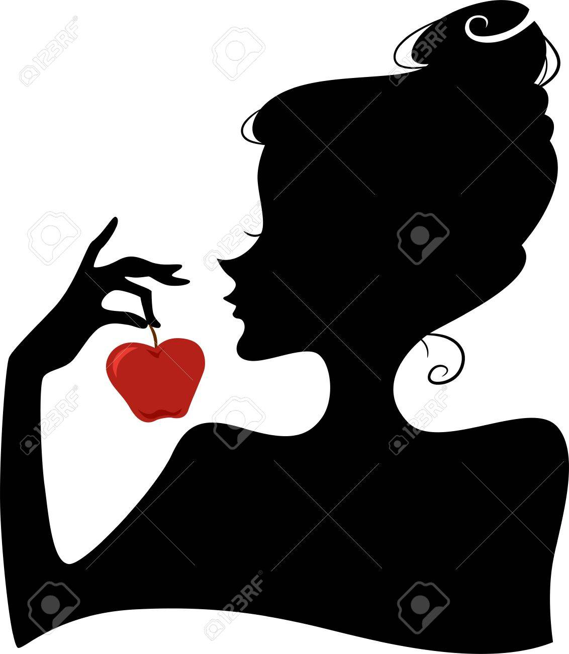 Illustration Featuring the Silhouette of a Woman Holding a Red Apple Stock Photo - 17581303