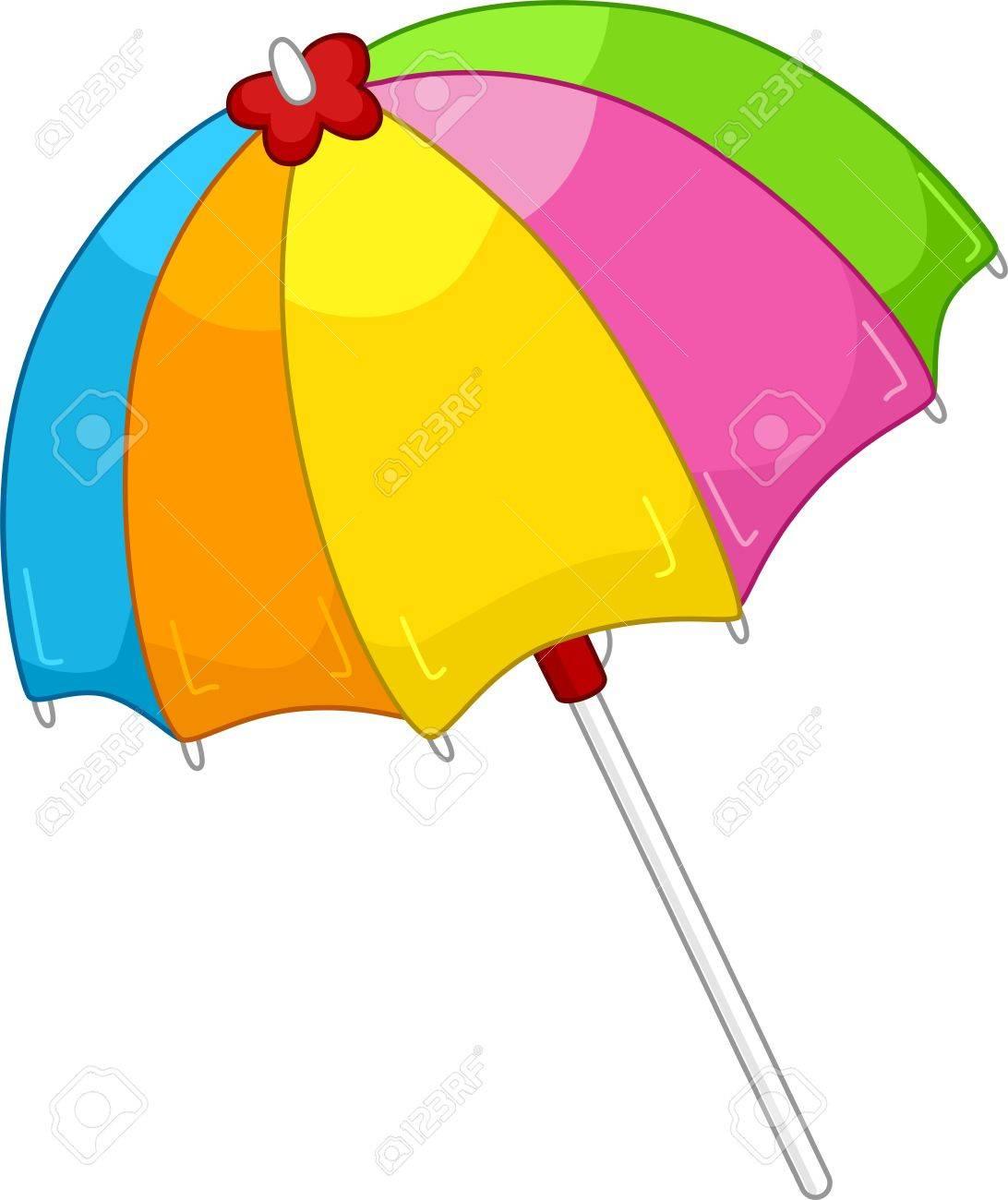 Ilustración De Un Parasol De Playa Colorido Abierto Fotos