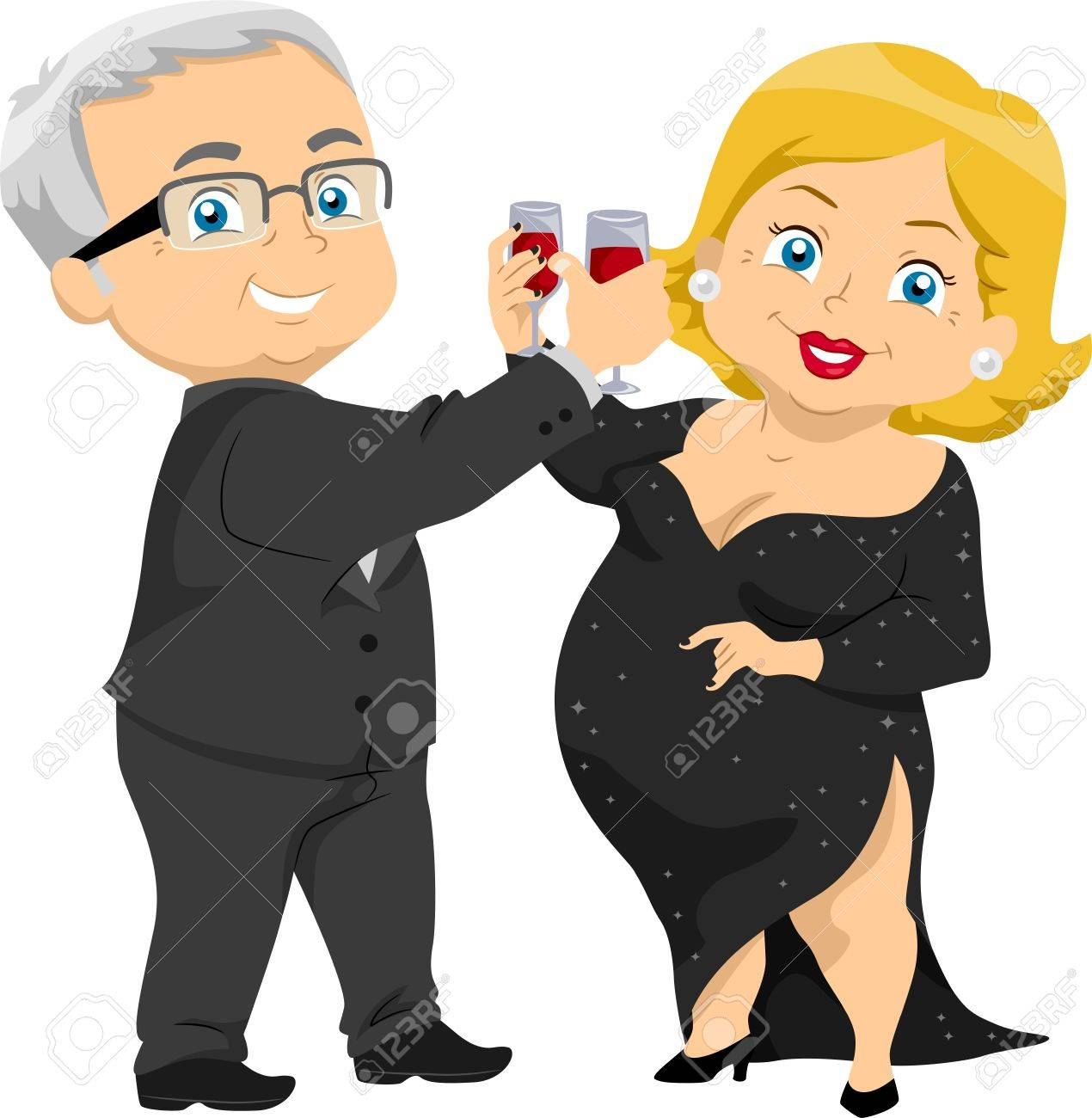 Illustration of Senior Couple Having a Toast at a Party Stock Illustration - 17871746