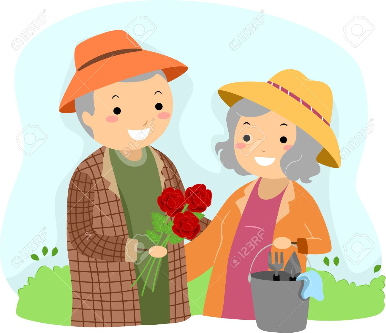Illustration of Stickman Senior Couple Gardening Stock Illustration - 17871749