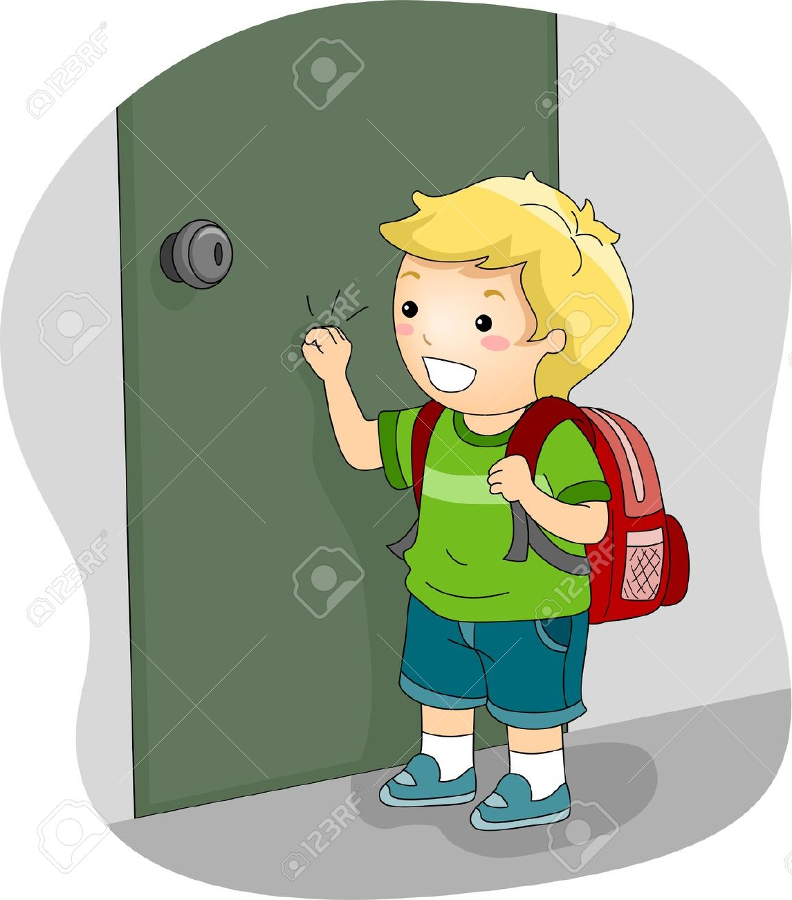 Cartoon classroom door - Illustration Illustration Of A Boy Knocking On A Door
