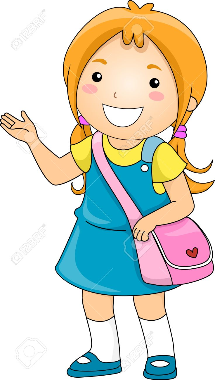 illustration of a student girl making some presentation stock photo rh 123rf com girl student thinking clipart college student girl clipart