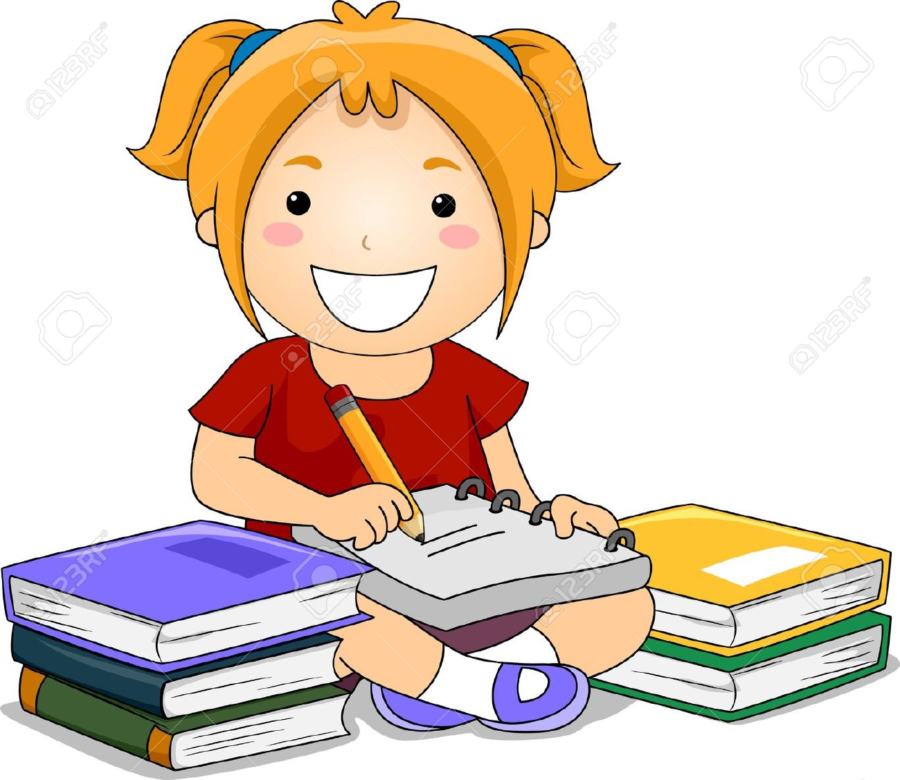 illustration of kid girl writing notes with books on her side stock rh 123rf com child writing clipart free child writing clipart black and white