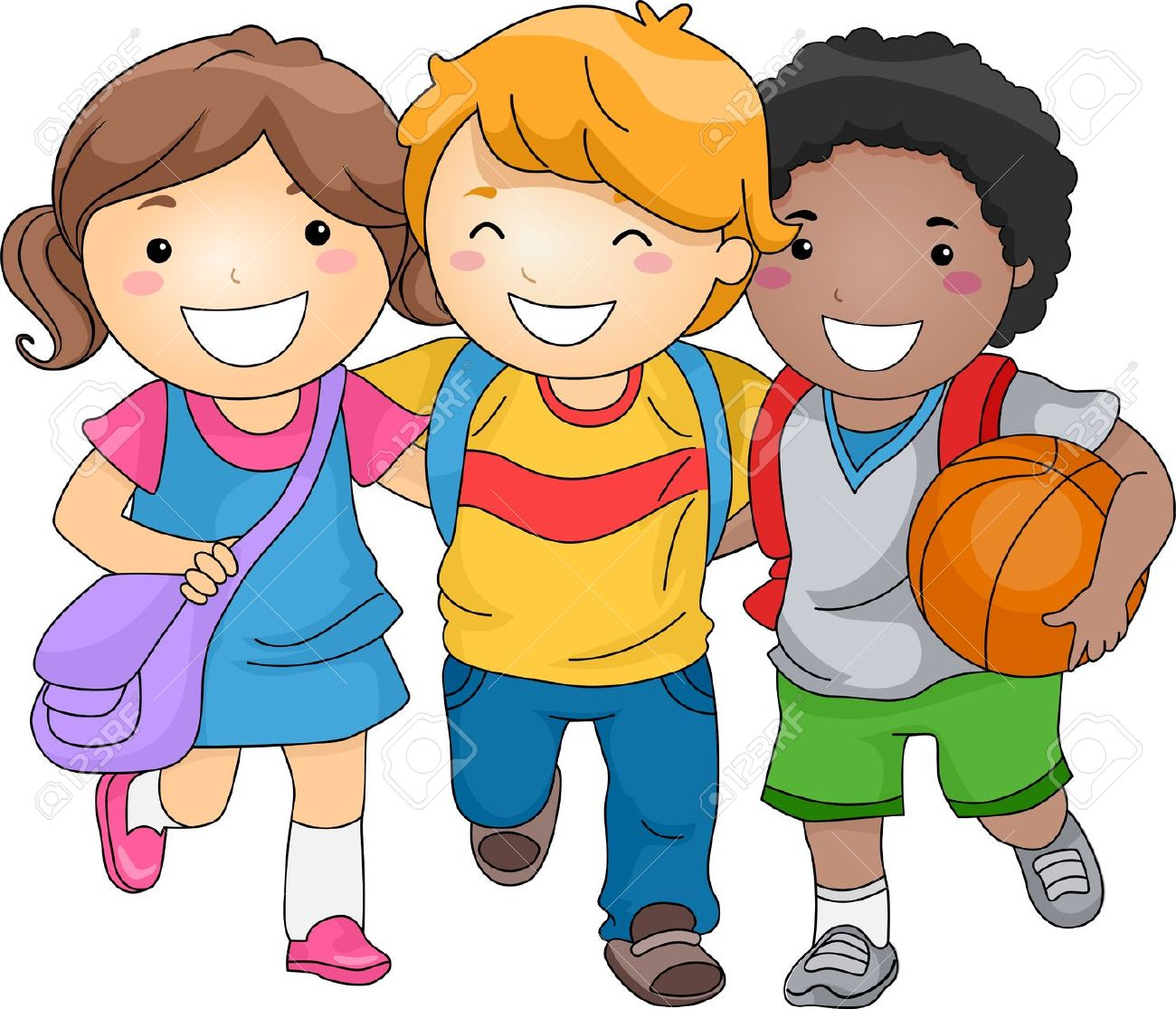 illustration of kid students as close friends stock photo picture rh 123rf com school kids clipart black and white