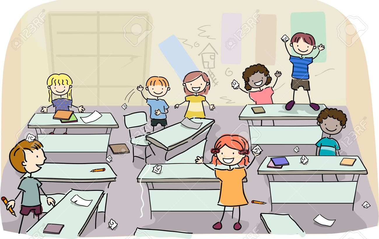 Illustration of Stick Kids making mess on their classroom Stock Photo - 18146313