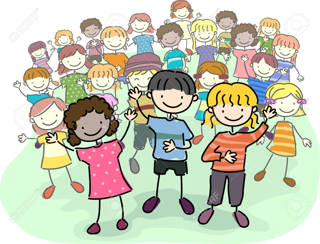 illustration of stick kids leading a crowd stock photo picture and rh 123rf com stick kids clip art free Rock Clip Art