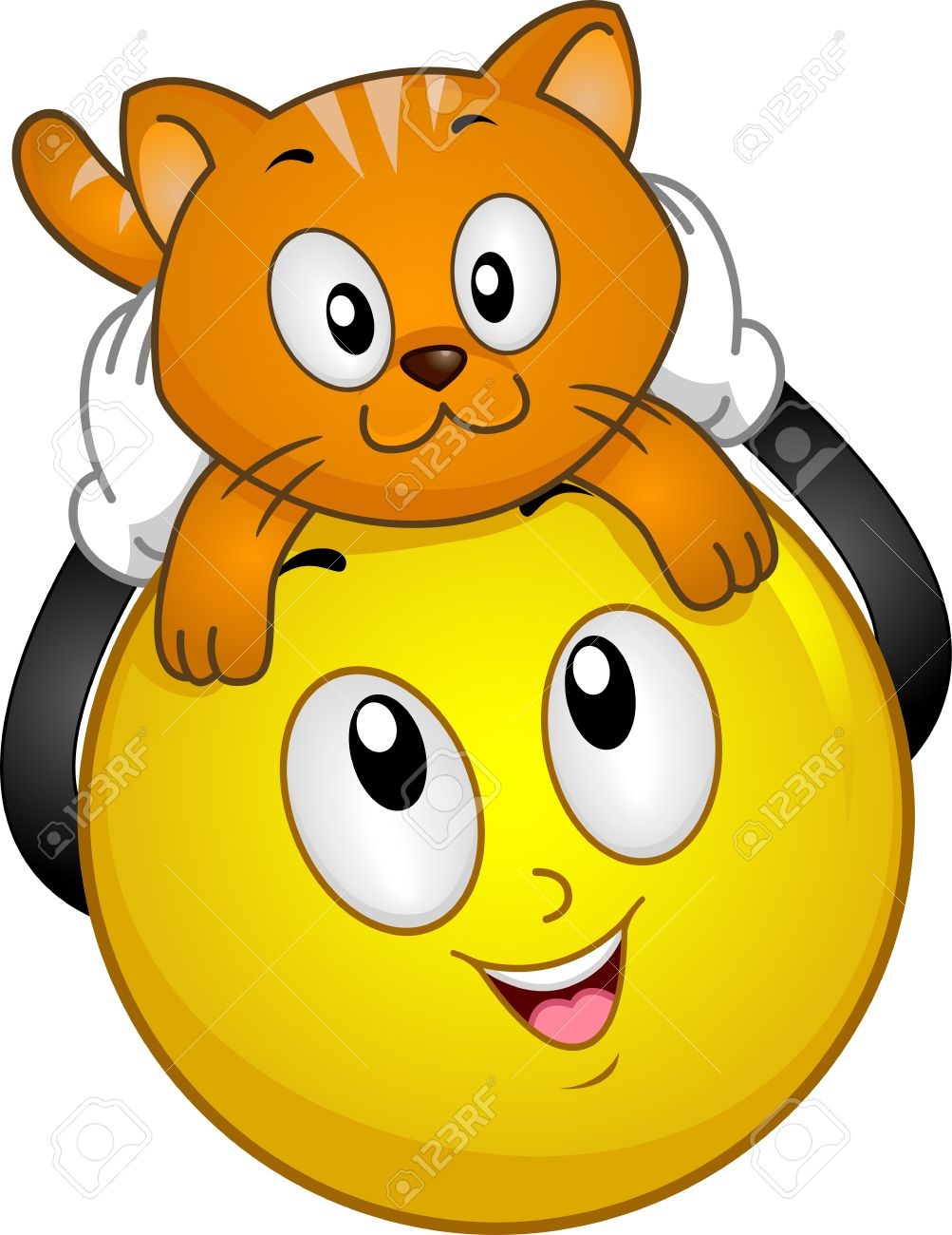 Illustration of Smiley holding a pet cat above its head Stock Photo - 18620084