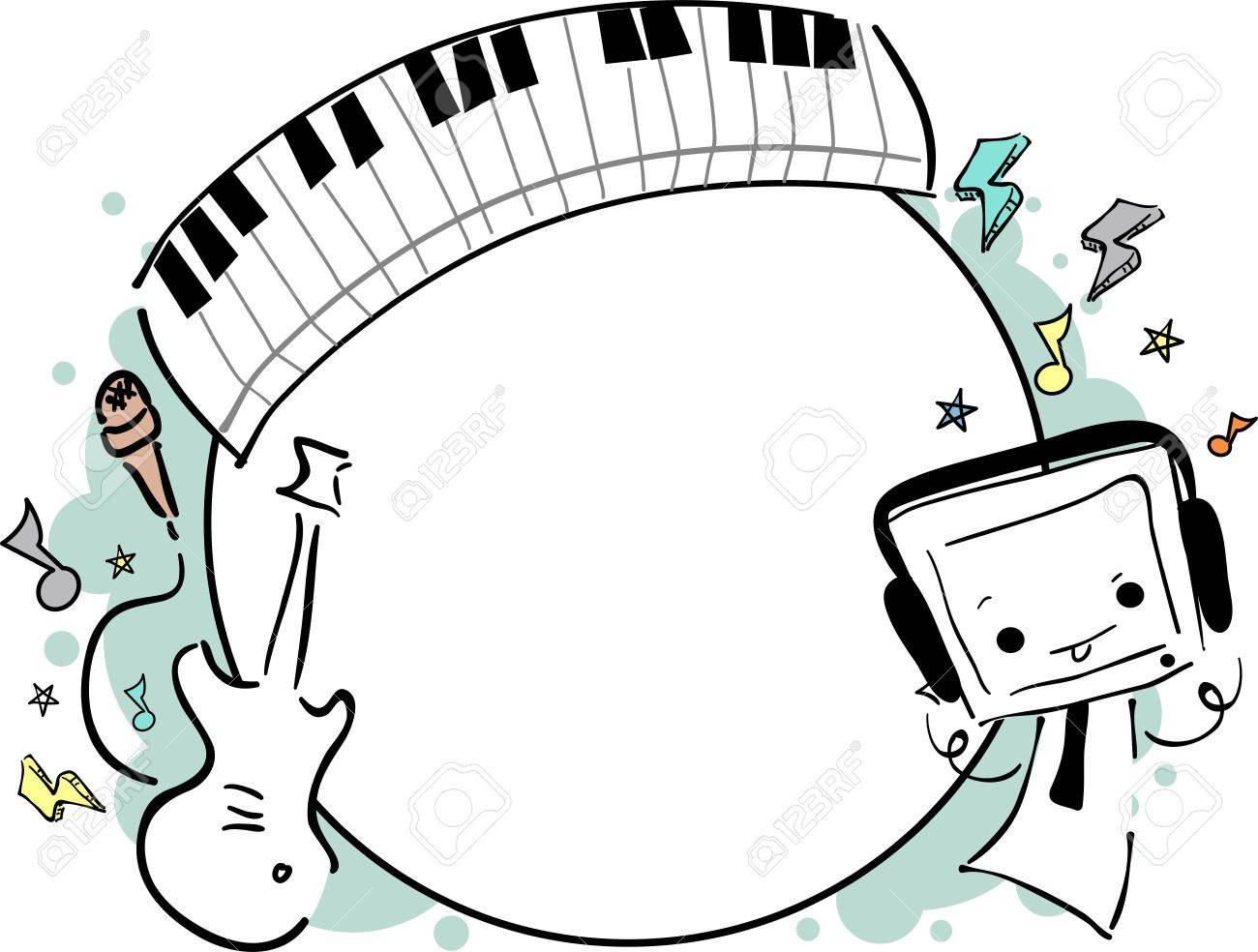 illustration of a music frame featuring a cute little monster stock photo 18834967 - Music Picture Frame