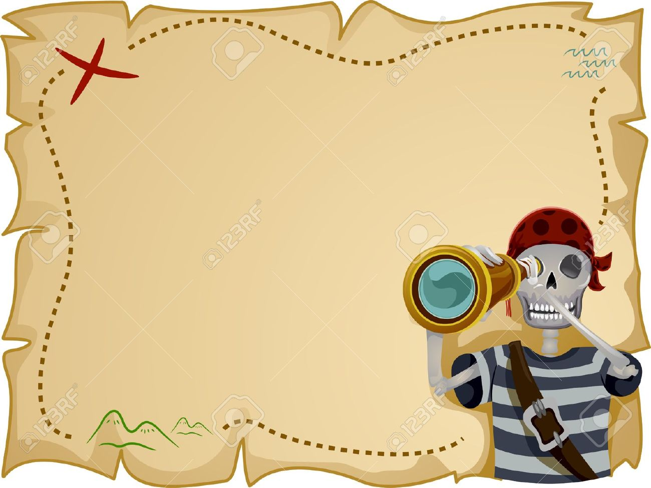 Frame Illustration Featuring A Pirate Standing In Front Of A.. Stock ...
