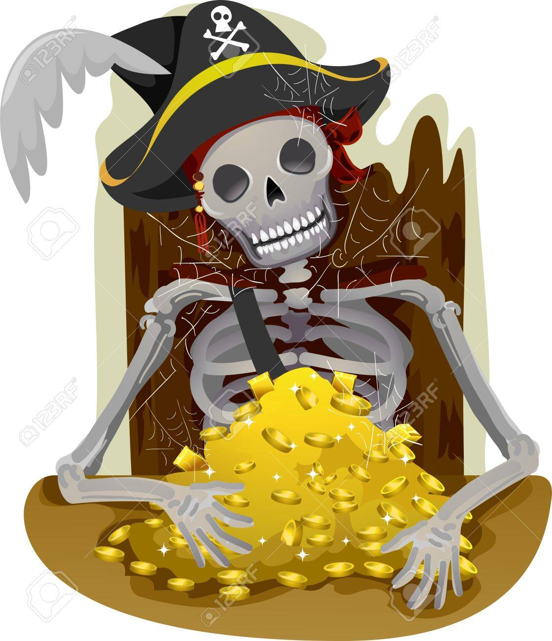 illustration of a pirate u0027s skeleton guarding a heap of gold stock