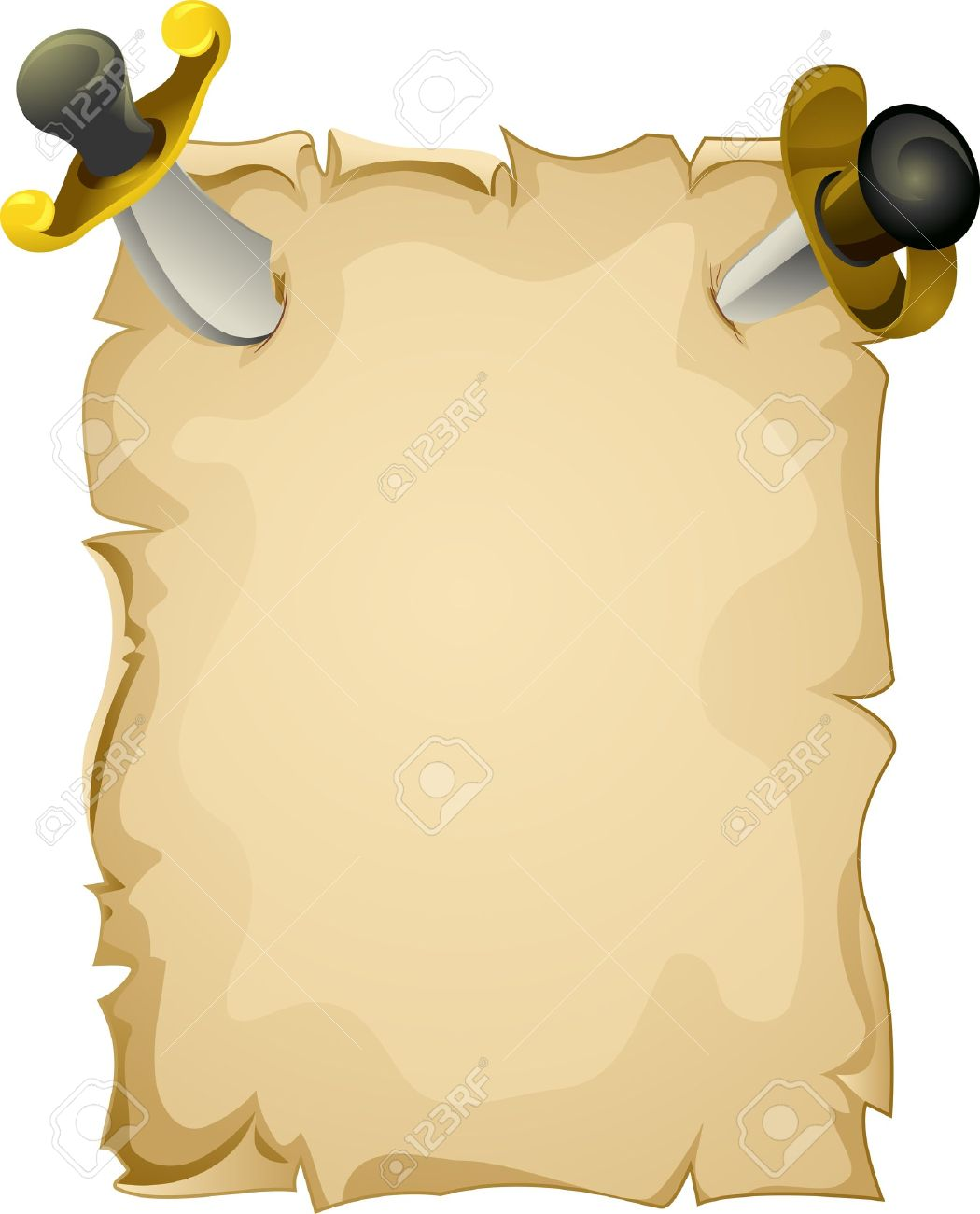 illustration of a blank piece of paper tacked to the wall by