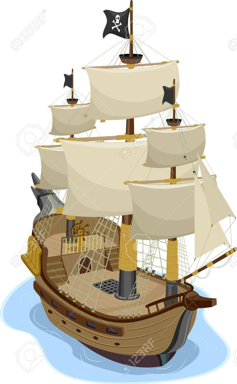 Illustration Of Pirate Ship In Two-point Perspective Stock Photo ...