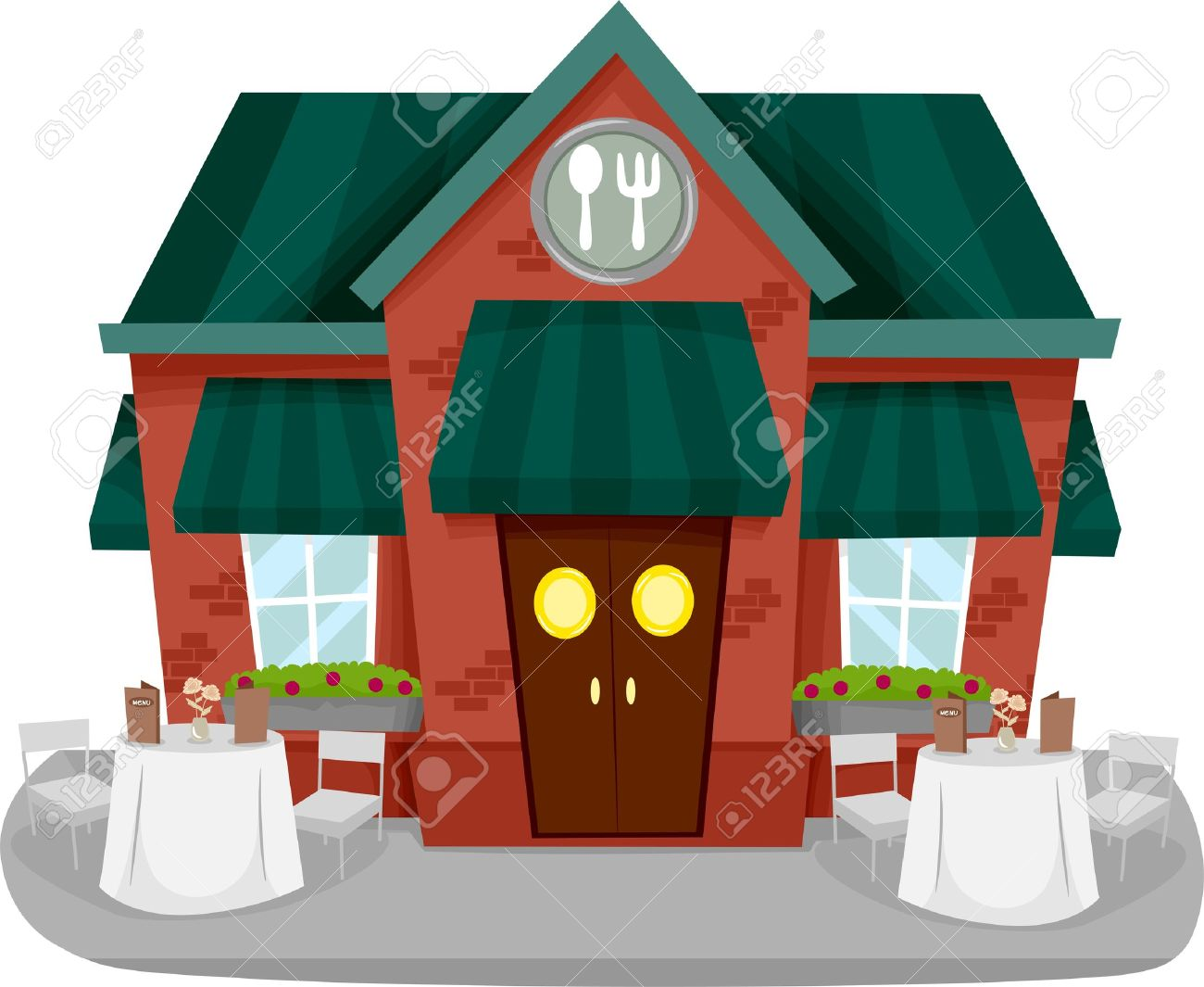 Illustration of a Restaurant Facade with Tables and Chairs Stock Photo - 18834936