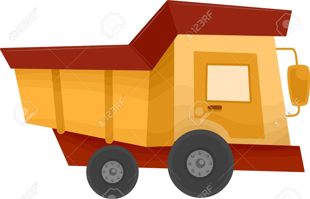 cartoon illustration of a dump truck construction equipment stock