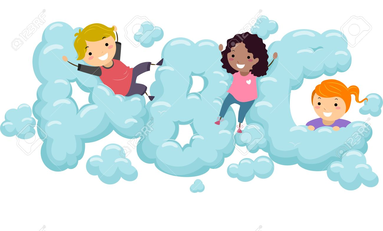 illustration of kids playing in an abc shaped cloud stock photo rh 123rf com