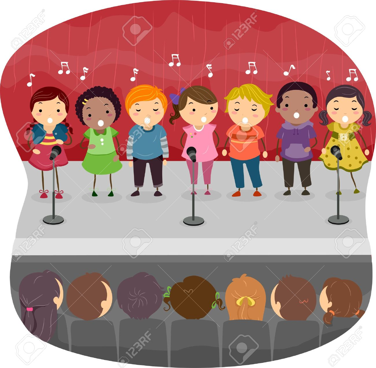Illustration Of Kids Singing On The Stage Stock Photo, Picture And ...