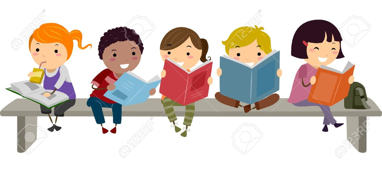 Illustration of Kids Sitting on a Bench while Reading - 19109852