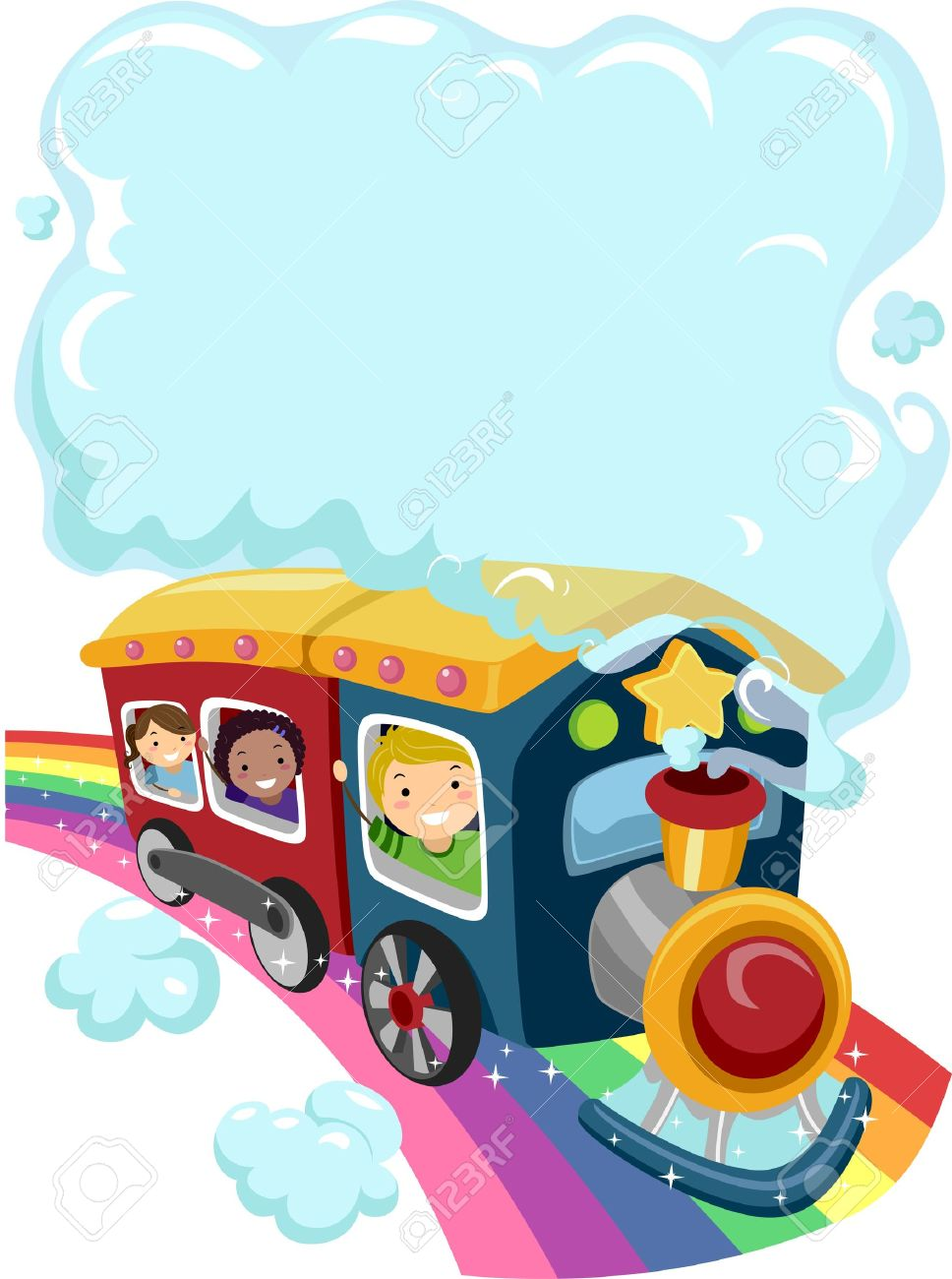 Illustration Of Kids On A Rainbow Train With A Cloud Of Smoke Stock