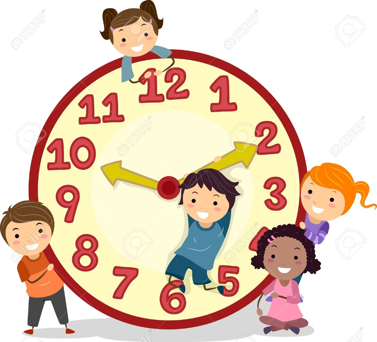 illustration of stickman kids on a big clock stock photo, picture