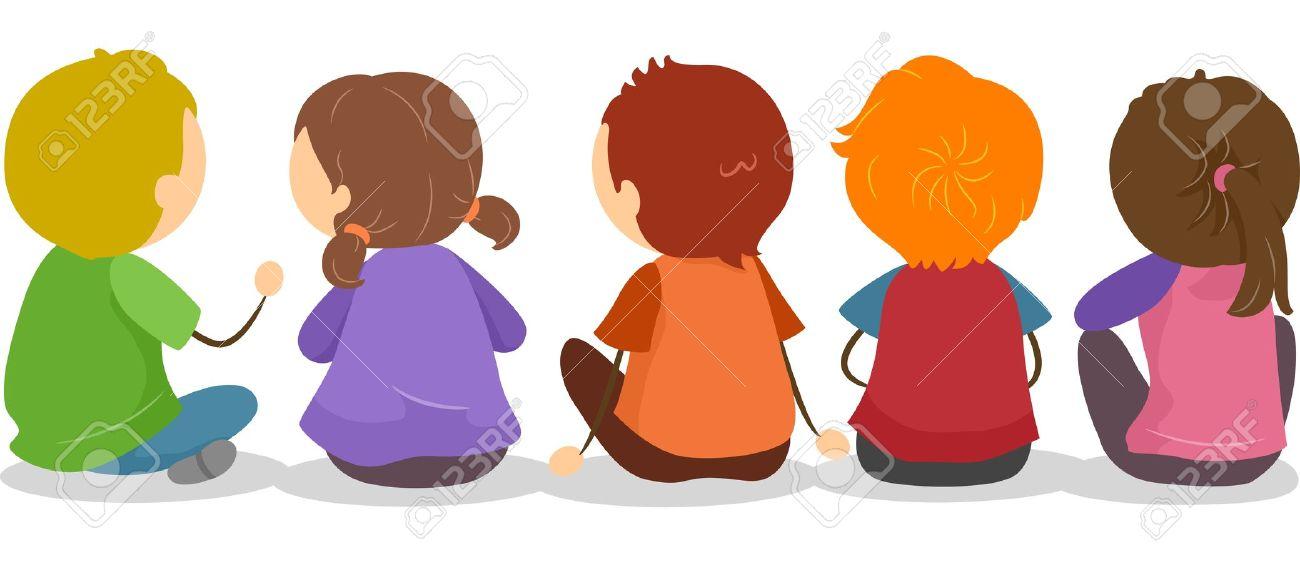 Illustration Of Backview Of Little Kids Sitting On The Ground Stock ...
