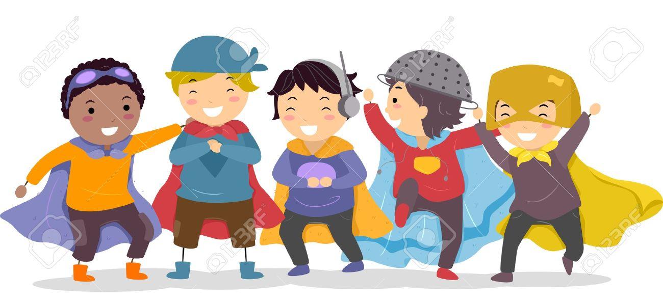 Ilustración De Los Niños Pequeños En Sus Trajes De Superhéroes Fotos, Retratos, Imágenes Y Fotografía De Archivo Libres De Derecho. Image 19109919.