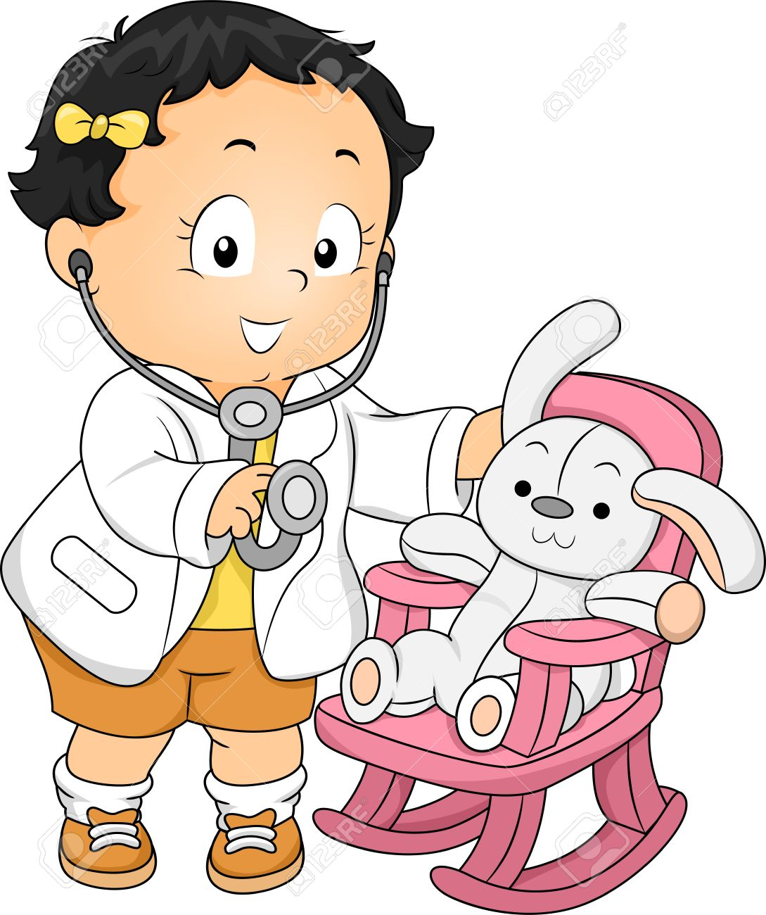 Illustration of a Toddler Girl dressed as a Doctor with his Plush Bunny Patient Stock Illustration - 19253813