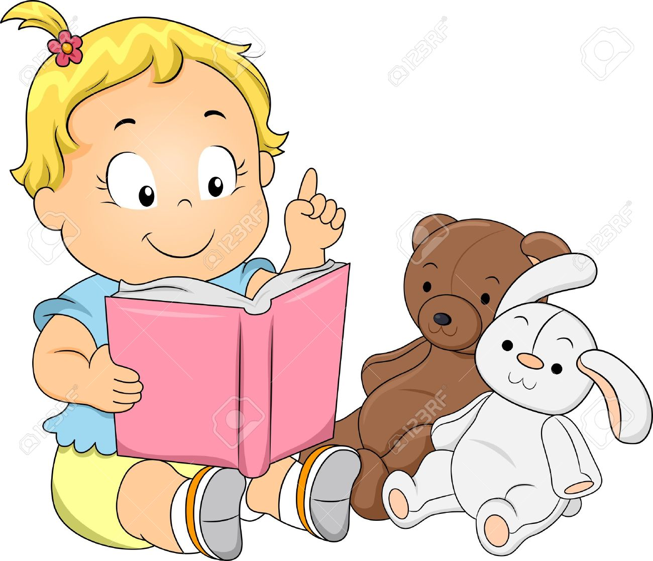 Illustration Of A Happy Toddler Girl Playing Teacher Reading ...