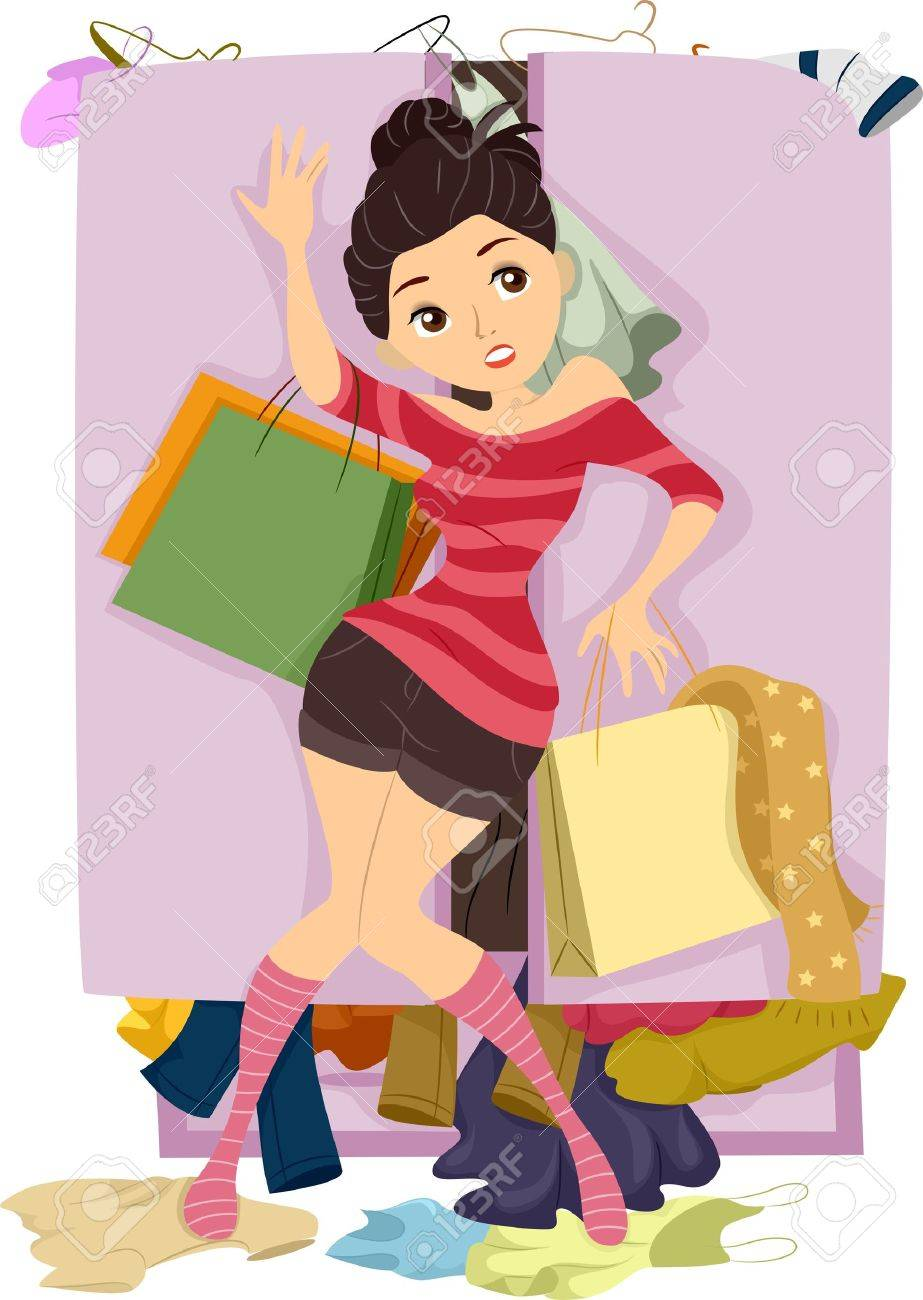 Illustration of Teenage Girl closing the door of an Overflowing Closet Stock Illustration - 20040479