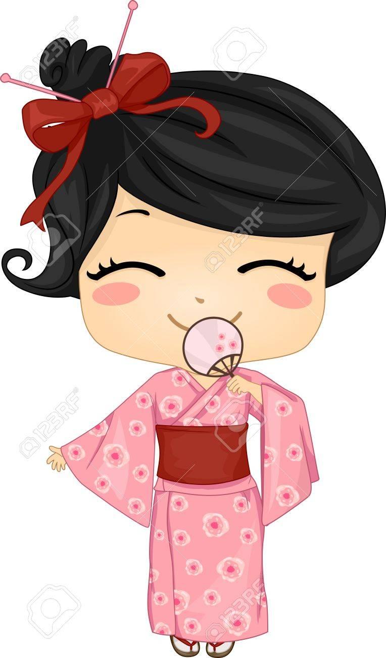 伝統的衣装を着て日本かわいい女の子のイラスト ロイヤリティーフリー