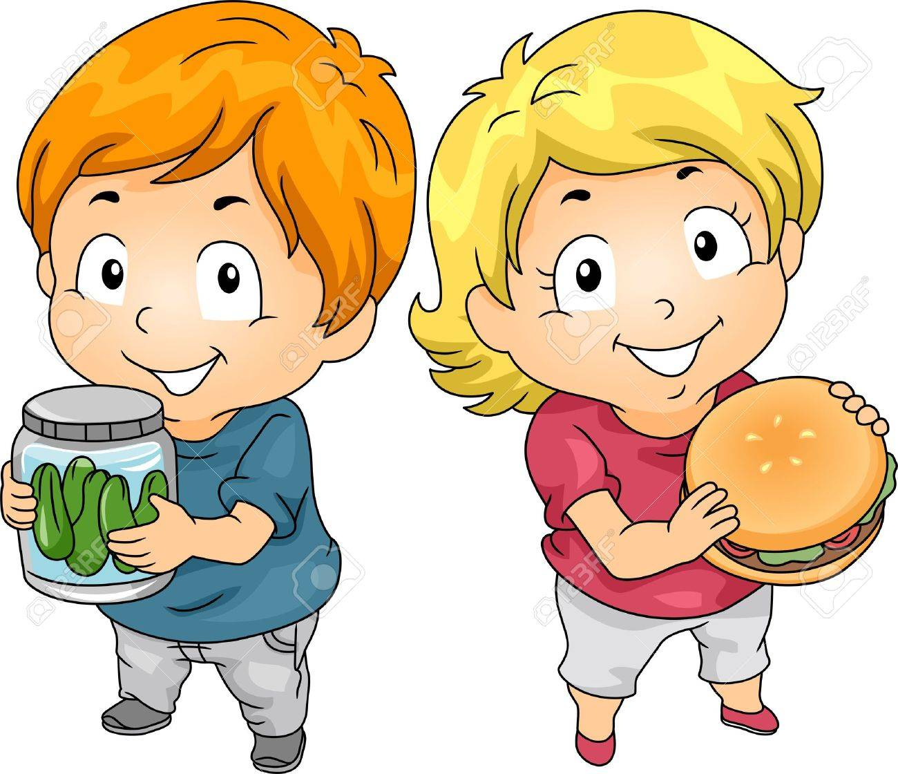Illustration of Little Male Kid Carrying a Jar of Pickles and a Little Female Kid holding a Hamburger Stock Photo - 20217066