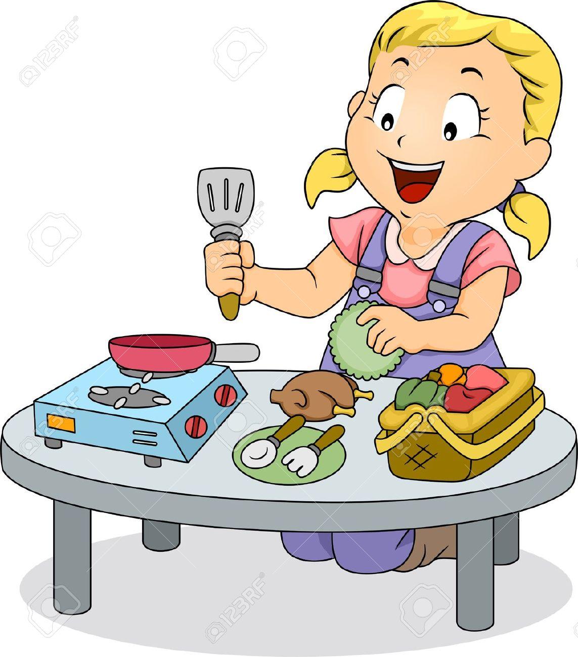 illustration von einem kleinkind mädchen spielen mit spielzeug ... - Kleinkind Küche