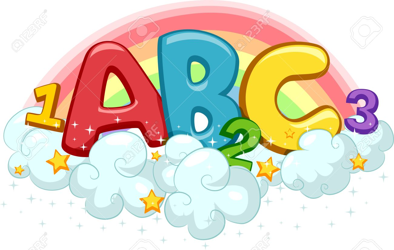 illustration of abc and 123 on clouds with stars and rainbow stock