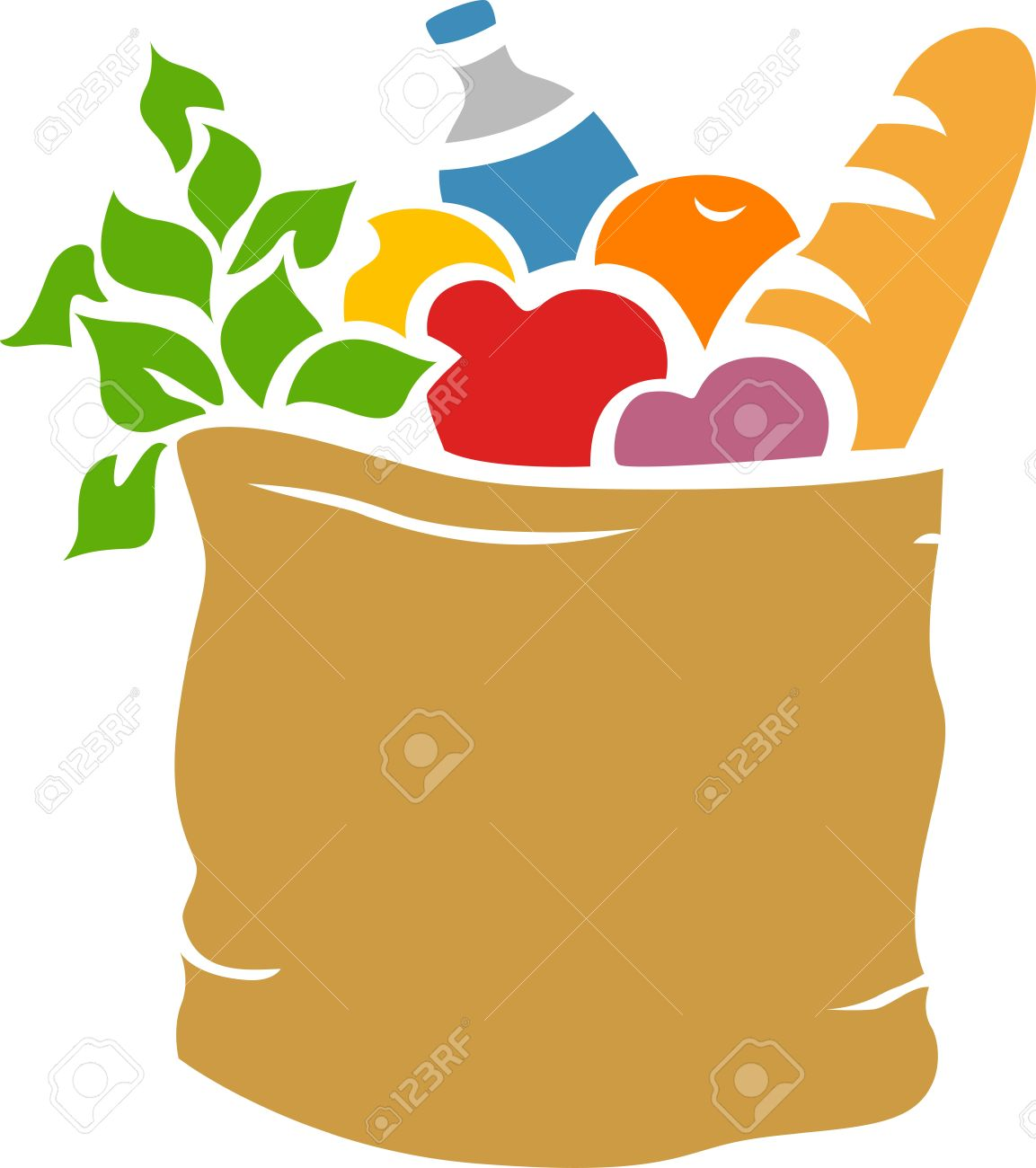 illustration of grocery bag full of groceries stencil stock photo rh 123rf com  cute grocery bag clipart