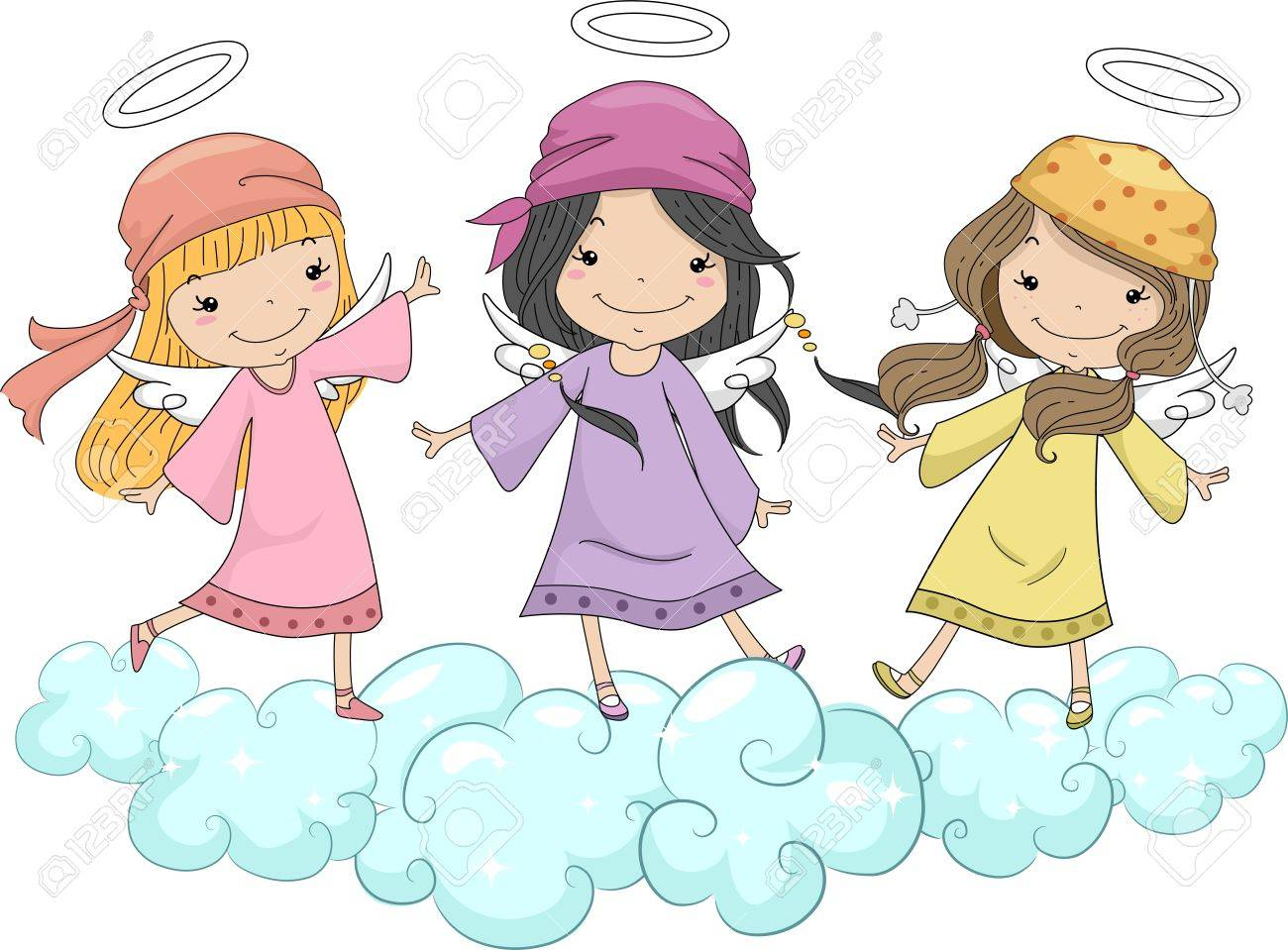 http://previews.123rf.com/images/lenm/lenm1307/lenm130700144/20614984-Illustration-of-Three-Girl-Angels-with-Head-Scarves-Standing-on-Clouds-Stock-Illustration.jpg